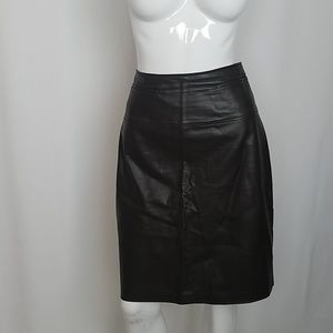 Club Monaco Brown Faux Leather Pencil Skirt